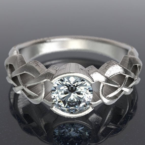 Celtic Moissanite Engagement Ring With Dara Knot Design in Sterling, 10K 14K 18K, Platinum, or Palladium, Made in Your Size Cr-414