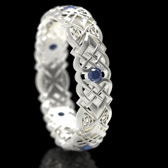 RESERVED FOR Schane, Custom 10K White Gold & Sapphire Celtic Knot Ring, Heart Knot Gold Wedding Ring, Women's Sapphire Heart Knot Ring, 1361