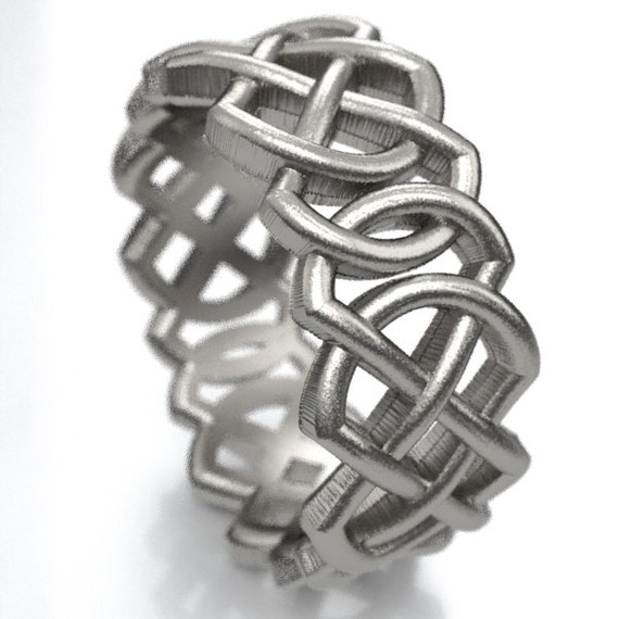 Celtic Wedding Ring With Pointed Double Infinity Cut-Through Knotwork Design in Sterling Silver, Made in Your Size CR-204