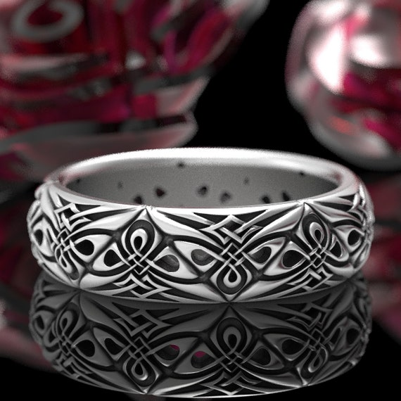 Tribal Celtic Triangle Wedding Band, Woven Modern Celtic Knot Ring, Unique Norse Knot Ring Design, Celtic Sterling Silver Woven Ring 1296