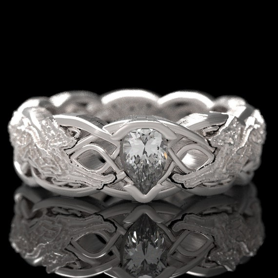 RESERVED FOR Alexa 8 Payments for Infinity Wedding Band with Celtic Fox, 10k White Gold and Pear Diamond, Custom Size 1052f