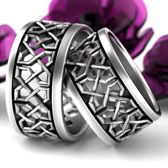 Celtic Wedding Ring Set With Open Cut-Through Knotwork Design in Sterling Silver, Made in Your Size CR-741b