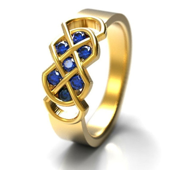 Celtic Blue Sapphire Ring With Infinity Knot Design in Sterling Silver, 10K 14K 18K Gold or Platinum. Made in Your Size CR-771