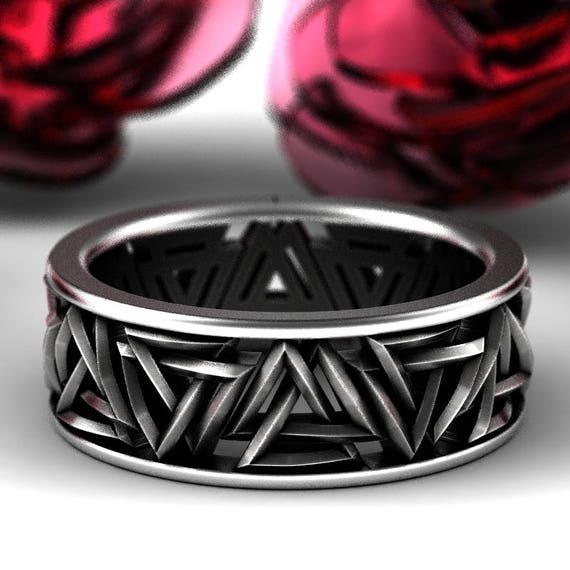 Valknut Knot Viking Silver Ring, Interlocking Triangles Ring, Odin Rune Jewlery, Norse Ring, Sterling Rune Ring, Jewelry Custom Size 1189
