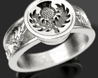 Scottish Thistle Signet Ring with Leaves Wax Seal Ring Design in Sterling Silver, Made in Your Size CR-5049