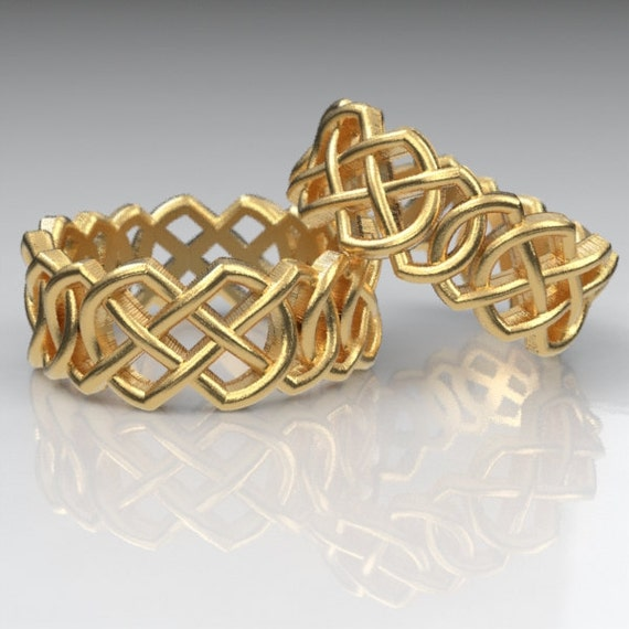 Celtic Wedding Ring Set With Pointed Double Infinity Cut-Through Knotwork Design in 10K 14K 18K Gold or Platinum, Made in Your Size Cr-204