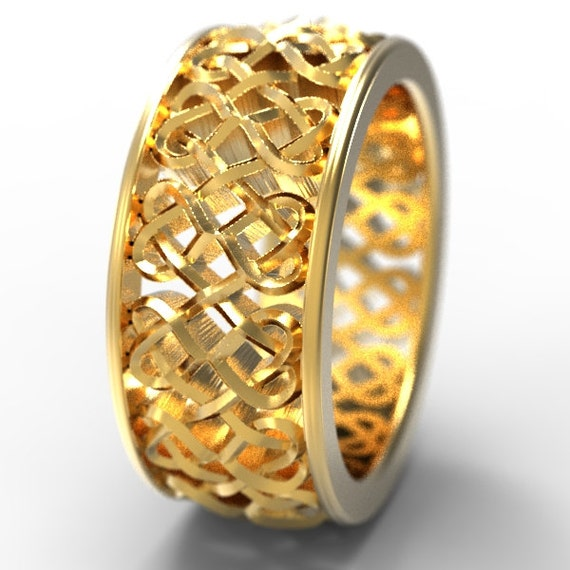 Celtic Wedding Ring With Celtic Heart Interlaced Knotwork Design in 10K 14K 18K Gold, Palladium or Platinum Made in Your Size CR-645