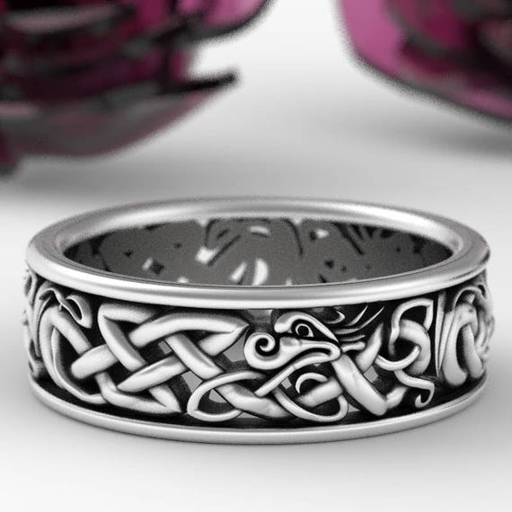 Sterling Silver Celtic Dragon Ring, Womens Wedding Band, Mens Wedding Band, Dragon Jewelry, Celtic Knot Ring, Custom Size 1172