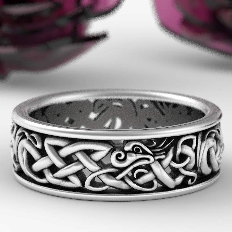 Sterling Silver Celtic Dragon Ring Womens Wedding Band Mens  95f64d385