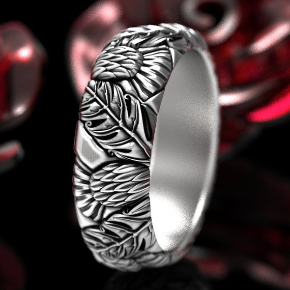 Silver Thistle Ring, 925 Sterling Silver Scottish Ring, Scottish Thistle Jewelry, Botanical Jewelry, Mens Handmade Rings, Custom Size 1317