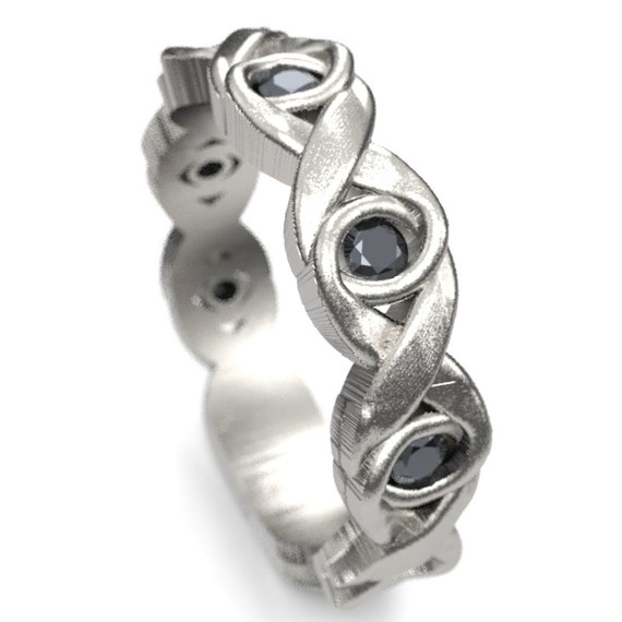 Celtic Black Spinel Wedding Ring With Infinity Knot Design in Sterling Silver, Black Celtic Knot Ring, Made in Your Size 1107