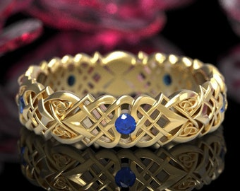 Gold & Sapphire Celtic Knot Ring, Heart Knot Gold Wedding Ring, Wedding Love Celtic Band, 10K 14K 18K Platinum, Unique Wedding Band, 1361