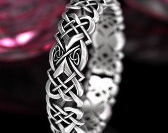 Sterling Celtic Heart Wedding Ring, Woman Celtic Ring, Love Knot Ring, Love Heart Ring, Heart Ring, Heart Wedding Band, 1360