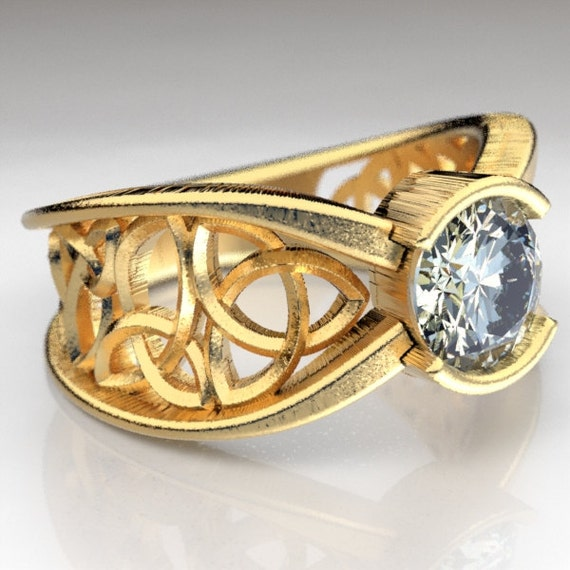 Gold Celtic Engagement Ring With Moissanite and Trinity Knot Design in 10K 14K 18K Gold, Palladium, Platinum, Made in Your Size Cr-1026