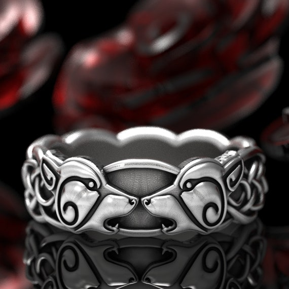 Wolf Wedding Band in Sterling Silver, Celtic Wolf Ring, Womens Wolf Wedding Band, Norse Wolf Ring, Tribal Wolf Ring, Celtic Knot Ring 1307