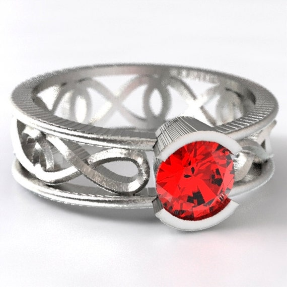 Celtic Ruby Unique Engagement Ring, With Infinity Symbol Design in Sterling, 10K 14K 18K Gold or Platinum Made in Your Size CR-1027