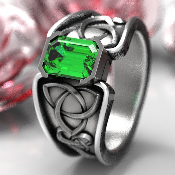Celtic Emerald Ring With Trinity Knot Band Ring Design in Sterling Silver, Made in Your Size CR-17e
