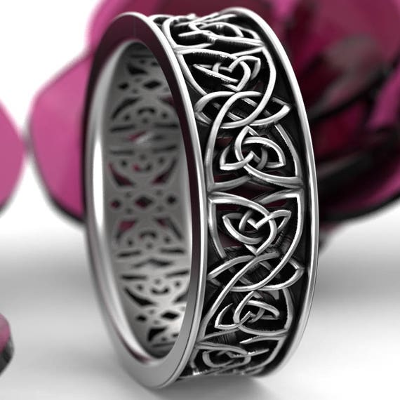 Celtic Wedding Ring With Cut-Through Celtic Knot Design in Sterling Silver, Made in Your Size CR-1039