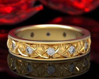 Endless Dara Knotwork Moissanite Celtic Wedding Ring, 10K 18K Gold Platinum, Celtic Knot Wedding Ring, Moissanite Wedding Ring 1352