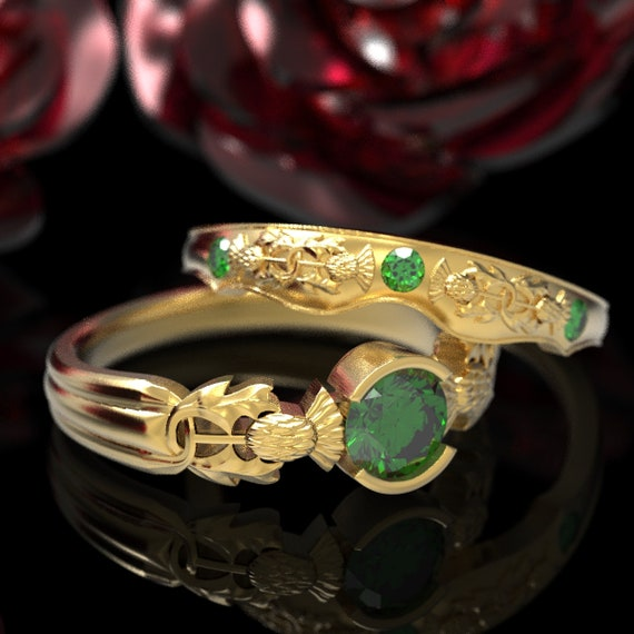 Thistle Engagement Ring Set, 10K 14K or 18K Gold Emerald, Scottish Solitare, Floral Wedding, Handcrafted Rings, Platinum Engagment Ring 5062