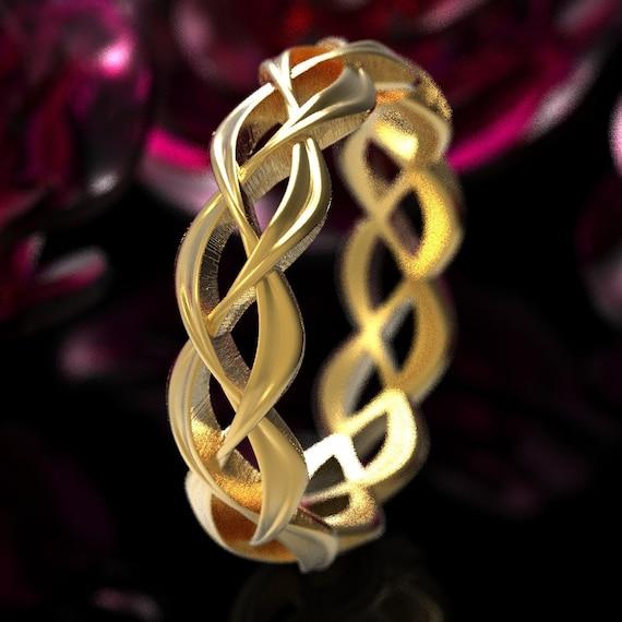 Gold Celtic Wedding Ring, Womens Gold Celtic Ring, Celtic Woven Wedding Band Made in 10K 14K 18K or Platinum, Custom Made Wedding Ring 1328