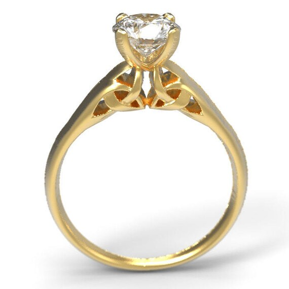 Solitaire Celtic 1/2 Carat Moissanite Engagement Ring With Trinity Knot Design in 10K 14K 18K Gold or Platinum, Made Your Size CR-3001