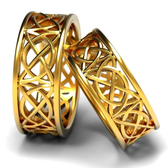 Celtic Wedding Ring Set With Open Cut-Through Knotwork Design in 10K 14K 18K Gold, Palladium or Platinum Made in Your Size 1139