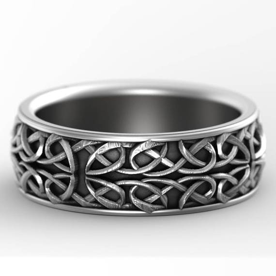 Celtic Wedding Ring With Interwoven Dara Knot Design in Sterling Silver, Made in Your Size CR-628