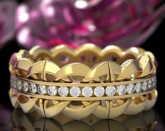 Moissanite Celtic Luxury Wedding Ring, Diamond Channel Set Wedding Band, 10K 14K 18K Gold Platinum Ring, Celtic Luxury Wedding Ring, 1303