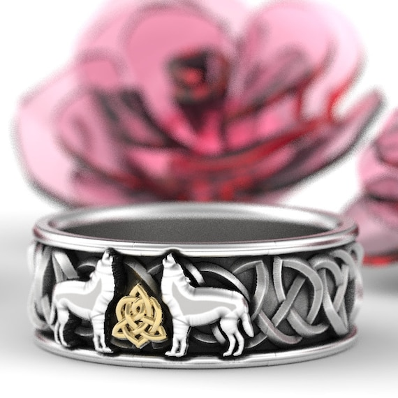 RESERVED FOR Nichole! 14k White and Yellow Gold Celtic Wolf Ring, Celtic Animal Ring, Wolf Jewelry, Norse Ring Custom Ring Design 1170
