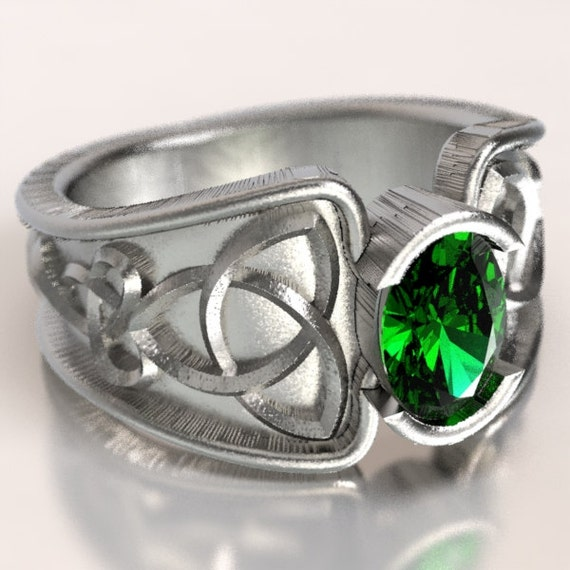 Celtic Emerald Ring With Trinity Knot Band Ring Design in Sterling Silver, Made in Your Size CR-17d