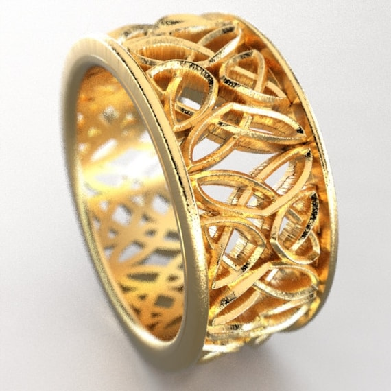 Celtic Wedding Ring With Laced Dara Knotwork Design in 10K 14K 18K Gold, Palladium or Platinum, Made in Your Size CR-646b