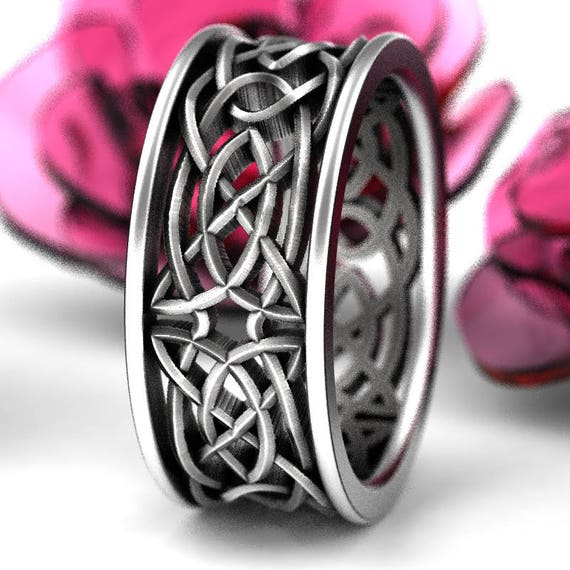 Celtic Wedding Ring With Open Cut-Through Knotwork Design in Sterling Silver, Made in Your Size 1188