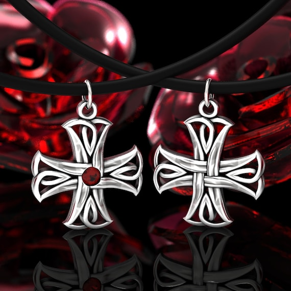 Celtic Cross Pendant, Celtic Gemstone Pendant, Ruby, Sapphire, Emerald or CZ Pendant, Sterling Cross Pendant, Silver Celtic Cross 73