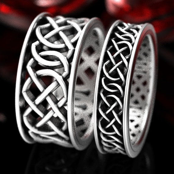 His & Hers Wedding Ring Set, Celtic Knot Wedding Ring Set, Celtic Rings in Sterling, 10K 14K 18K Gold or Platinum Made in Your Size CR-268