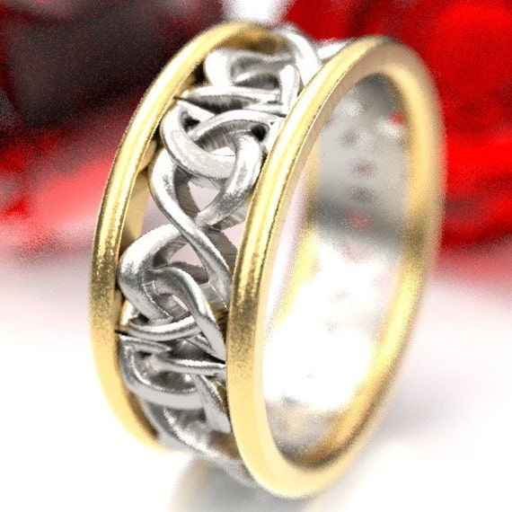Gold Bi-Color Wedding Band Set Celtic Woven Dara Knotwork Design in 10K 14K 18K Gold, Made in Your Size CR-5008