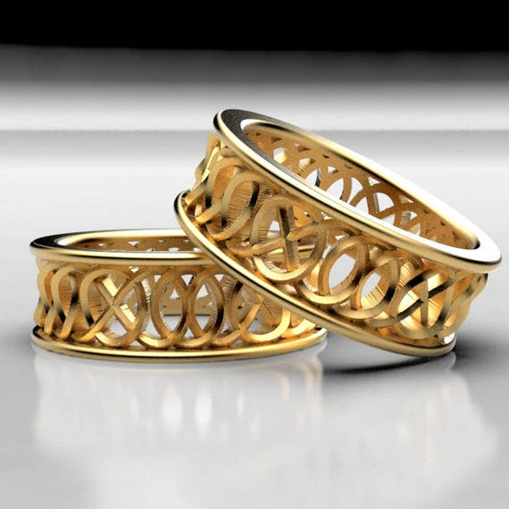 """Celtic Wedding Ring Set With Infinity Knotwork """"Hugs and Kisses"""" Design 10K 14K 18K Gold, Palladium or Platinum, Made in Your Size 299"""