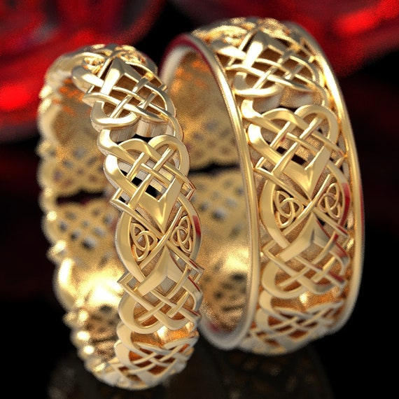 Celtic Heart Knot Wedding Ring Set, His + Hers Gold Wedding Ring Set, Matching Heart Knot Wedding Rings, Celtic Love Knot Rings 1360 + 1362