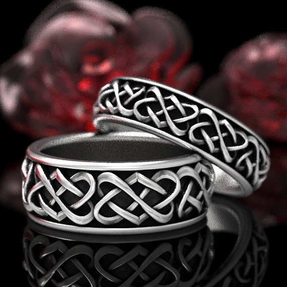Celtic Wedding Ring Set With Heart Knot Design in Stering Silver, Matching Sterling Wedding Rings, Celtic Heart Knot Made in Your Size 1265