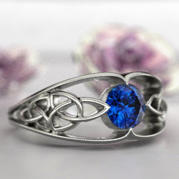 Celtic Trinity Knot Design With Blue Sapphire Stone in Sterling Silver, 10K 14K 18K Gold, Palladium, or Platinum Made in Your Size CR-1048