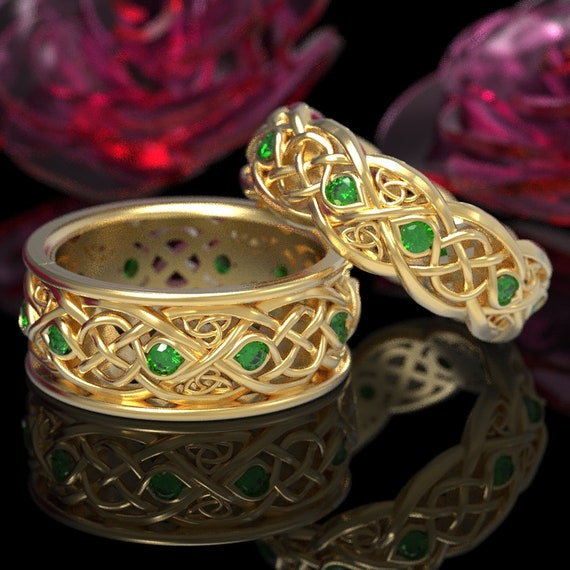 Gold Wedding Band Set With Emeralds, Gold Celtic Ring Set, Celtic Wedding Band, 10K 14K 18K Gold Or Platinum Handcrafted Size 1096 & 1052