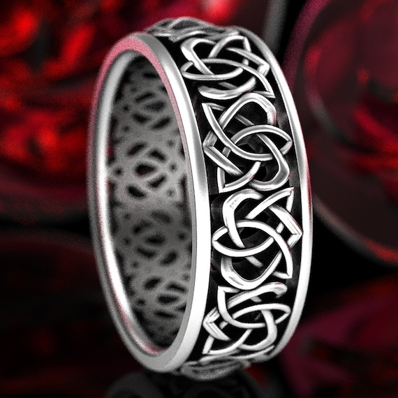Heart Celtic Knot Ring Wedding Band, 925 Sterling Silver Celtic Knot Ring, Unique Wedding Heart Ring, Woven Heart Knot Ring, Your Size 1330