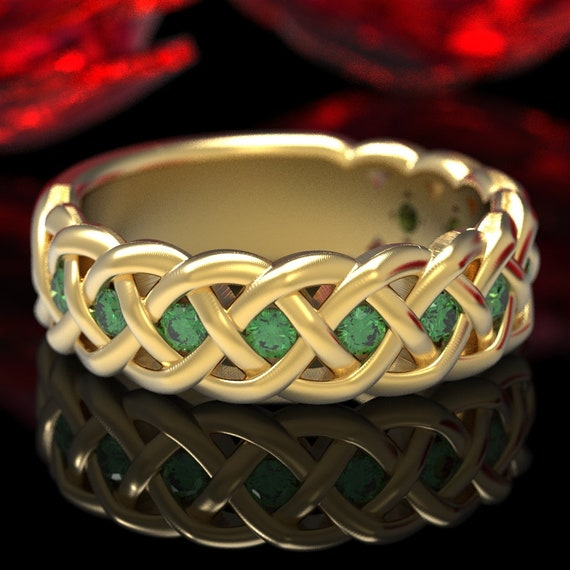 Celtic Wedding Ring with Emeralds in 4 Cord Braided Knot Design in Sterling, 10K 14K 18K Gold or Platinum Made in Your Size CR-1008