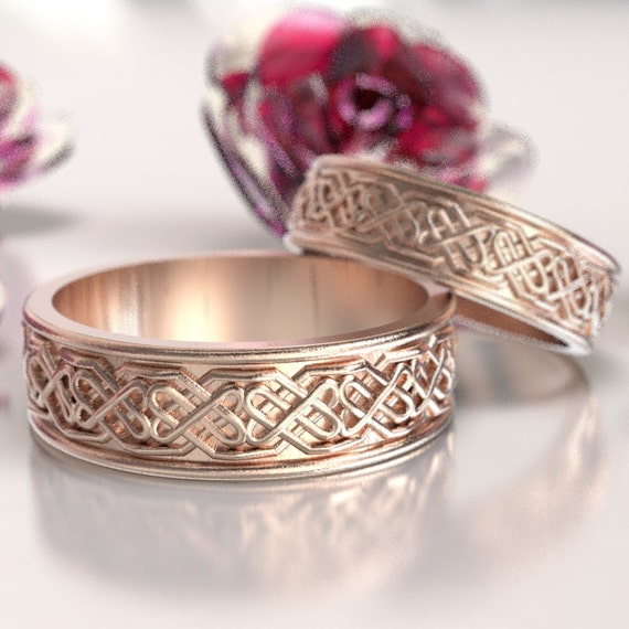 Celtic Wedding Ring Set with Raised Relief Custom Infinity Knotwork Design in 14K Gold, Wedding Ring Made in Your Size 1098