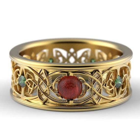 RESERVED FOR Kelsey 1OK Gold Celtic Wedding Ring With Cut-Through Celtic Butterfly Design With Sunstone & Emerald Stones, Custom Ring 1040