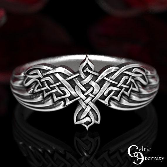Sterling Silver Raven Ring, Raven Wedding Ring, Raven Jewelry, Bird Wedding Ring, Silver Celtic Ring, Viking Bird Ring, Goth Ring, 1478