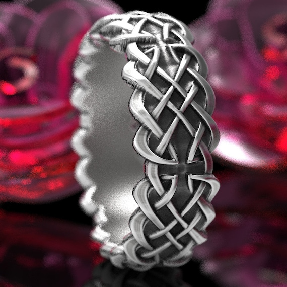 Celtic Wedding Ring With Dara Knot Design in Sterling Silver, Made in Your Size CR-1042