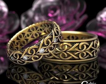Moissanite & Gold Celtic Wedding Ring Set, Platinum Wedding Band, His Hers Matching Gold Wedding Bands, Infinity Wedding Band 1421 1422