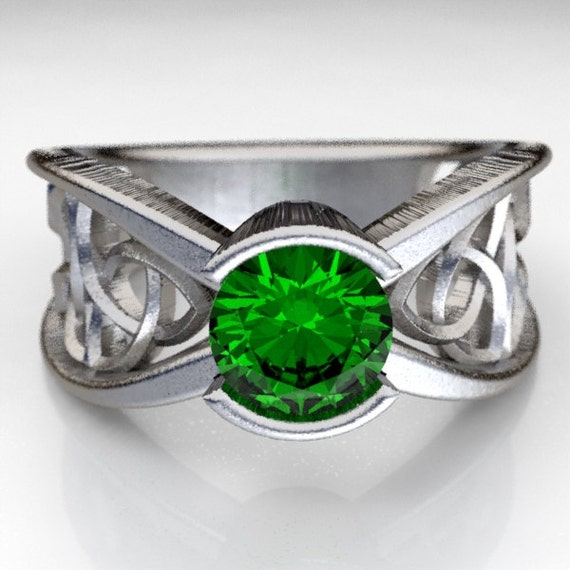 Celtic Emerald Engagement Ring With Trinity Knot Design in Sterling Silver, 10K 14K 18K Gold, Palladium, Platinum Made in Your Size CR-1026