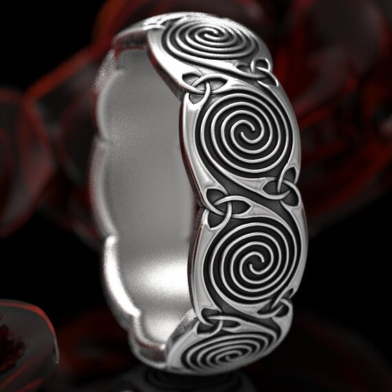 Celtic Wedding Ring With Spiral Design and Triquetra in Sterling Silver, Made in Your Size CR-1285